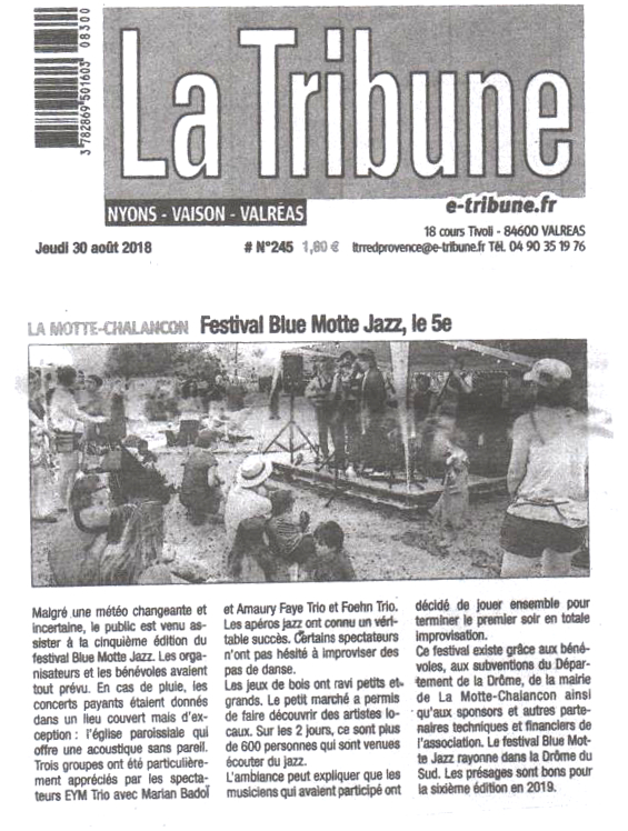 Article la tribune 30 aout 2018